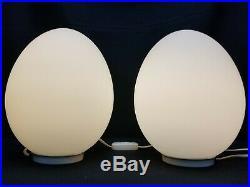 PAIR GORGEOUS 2 VINTAGE MCM MID CENTURY LAUREL EGGS LAMP FROSTED GLASS 1970's