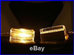 PAIR OF VINTAGE VITRIKA GLASS & BRASS WALL LAMPS DANISH MODERN MID CENTURY