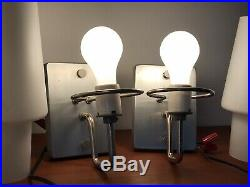 PAIR PRESCOLITE SCONCE VTG Mid Century Modern 60s Frosted Glass Wall Light Lamp
