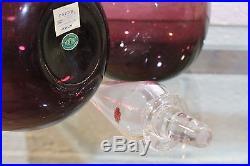 Pair Vintage Italian Murano Empoli Glass Purple Decanters MID Century Modern