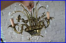 PAIR bronze mid century hollywood regency wall lights sconces glass pendants