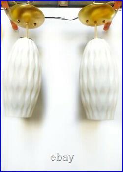 PAIR of 2 Vintage MCM White MidCentury Glass Hanging Cigar Bubble Pendant Lights