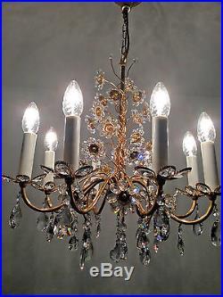 PALWA Gilt Brass Crystal Glass Chandelier Mid Century Modern