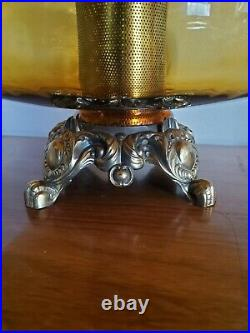 Pair (2) Vtg Mid Century Modern Hollywood Regency Amber Optic Glass Lamps