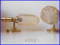 Pair Brass & Bubble glass wall sconces danish mid century Fagerlund Kalmar era