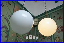 Pair Large Opaline Glass & Chrome Mid Century Modernist Globe Lights Pendants