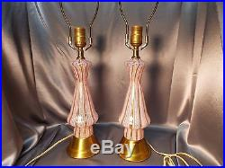 Pair Latticino Murano Glass Lamps Hollywood Regency Mid-Century Modern Venetian