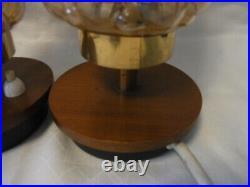 Pair Mid Century 60's Bubble Glass Teak Light Night Bedside Lamps #