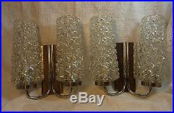 Pair Mid Century Chrome Wood Glass Wall Lamps Mirror Sconces #