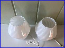Pair Murano Italian Mid Century Modernist Mushroom Glass Bedside Lamps 2 1970s