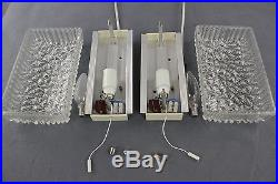 Pair Murano Structured Glass Sconces Mirror Wall Lamps Mid Century Vintage