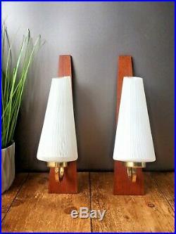 Pair Of MID Century Modern Danish Teak White Striped Glass Wall Light Sconces