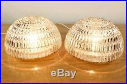 Pair Vintage Flush Mounts or Wall Lamps Mid Century Glass Dome Lights by Staff