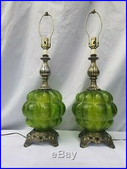 Pair Vintage Green Filmed Crackled Glass Table Lamps with Night Light Mid Century
