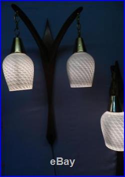 Pair Vintage Mid Century Modern Wall SconceLightLampVenini Murano Art Glass