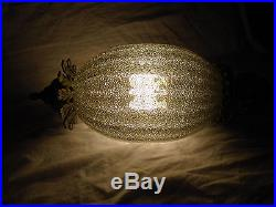 Pair Vintage Mid Century Swag Light Fixtures Ceiling Glass Gray Lit, Green
