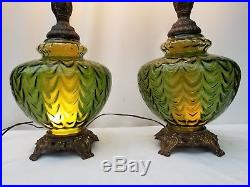 Pair Vintage Table Lamps Green Glass Mid Century Hollywood Regency
