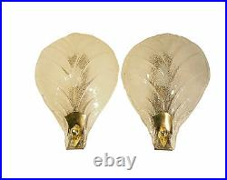 Pair Wall Sconces BAROVIER TOSO Rugiadoso Mid Century Murano Leaf Textured