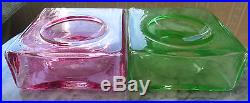 Pair of Christian Tortu Mid-Century Art Glass Spool Vases Pink and Green
