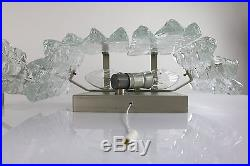 Pair of Structured Ice Glass Wall Sconces Lamps by Kalmar Modern Mid Century