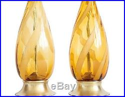 Pair of Tall Mid-Century Murano Blown Glass Ribbon Swirl Italian Table Lamps