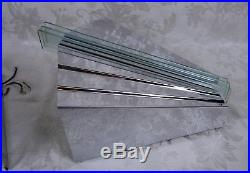 Pair of Vintage Mid Century Chrome and Blue Glass Wall Sconce Light Fixtures