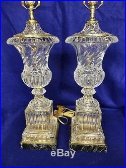 Paul Hanson Hollywood Reg. Crystal swirl glass mid century lamps