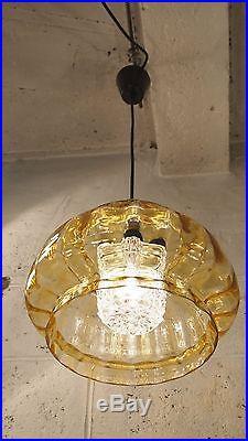 Pendant Ceiling Light ORREFORS Textured Glass Mid Century Doria Kalmar Murano