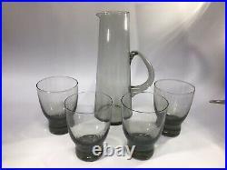 Per Lutken Holmegaard Smoke Glass Martini Jug & 3 X Canada Tumblers Mid Century