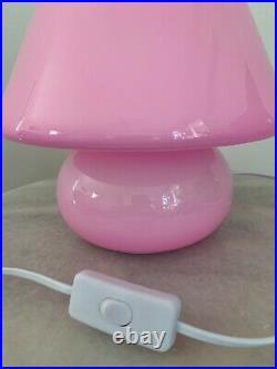 Pink Mushroom Lamp, Murano Style Glass Lamp, Desk Lamp