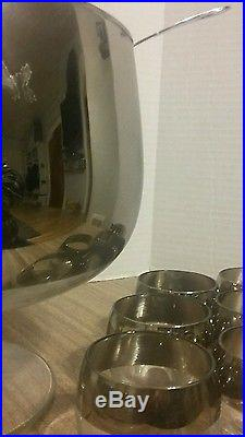 Punch Bowl Set Dorothy Thorpe Roly Poly Silver Rim Mid Century Modern 14 Piece
