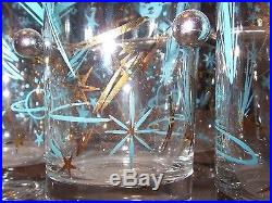Rareset 8mid Century Modern Aqua Gold Atomic Cosmic Tumblers & Caddystarburst