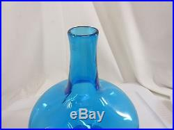 RARE Blenko Cobalt Blue Optic Mid-Century Decanter Joel Myers 22 inch Beautiful