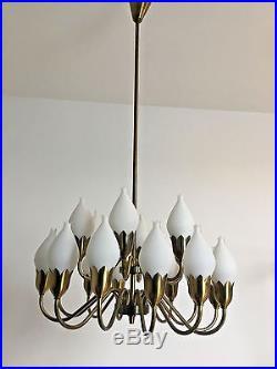 RARE Fog & Morup Opaline Glass Chandelier Mid Century Modern