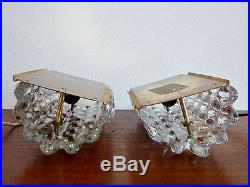 RARE Mid Century Modern CARL FAGERLUND for ORREFORS Art Glass Wall Sconces