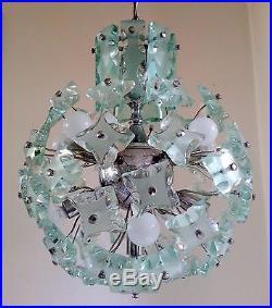RARE Mid Century Modern Glass Sputnik Chandelier Fontana Arte style era