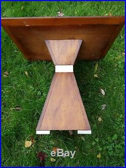 RARE Mid Century Modern Lane Style Walnut End Table Wood Black Glass Vintage