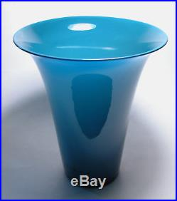 RARE Signed PAOLO VENINI 1950 OPLALINO Vase Mid Century Modern ITALIAN Art Glass