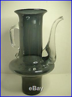 RARE UNDAMAGED Husted Charcoal Decanter BLENKO Art Glass HUGE MID CENTURY MODERN