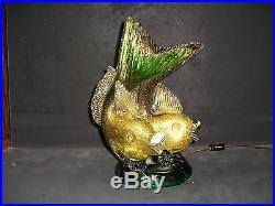 RARE VINTAGE SEGUSO DOUBLE FISH FIGURINE LAMP SCULPTURE 24KT GOLD MID CENTURY