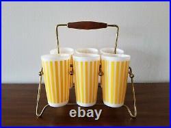 RARE Vintage/Mid-Century Set/6 HAZEL ATLAS Yellow CANDY STRIPE 5 TUMBLERS
