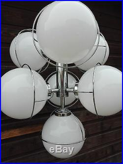 RETRO 70's Sputnik atomic Chandelier opaline glass globes chrome mid century