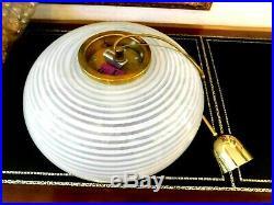 Rare Authentic Mid-Century Venini Murano Swirled Art Glass Globe Chandelier
