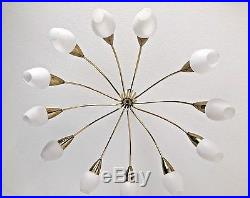 Rare Big Mid Century Brass Sputnik Ceilling Lamp 12 Arms Opal Glass