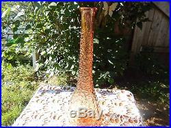 Rare Color! Vintage Genie Bottle Mid Century Bubble Glass Decanter by Empoli