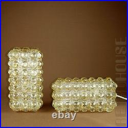 Rare Lamp Mid-Century Modern Pair Ceiling Wall Lights Sconces Bubble Amber Glass