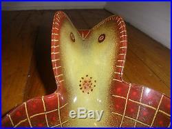Rare Large MID Century Glass Bird Dish Bowl By Maurice Heaton Swiss Amer Signed