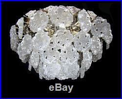 Rare Large Mid Century Ice Glass Flower Chandelier by LIMBURG Germany 1960´s