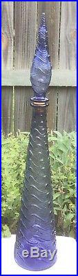 Rare MID Century Italian Amethyst Purple Glass Genie Bottle Decanter & Stopper