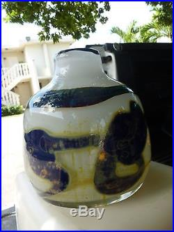 Rare MID Century Large Bulbous Val St Lambert Artistic Line Vase By Sam Herman